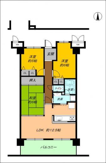 4階3LDK和室有、全居室に収納、家事動線を考えた間取りです♪(間取)