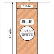 約26坪、駐車場や資材置き場にオススメです(間取)