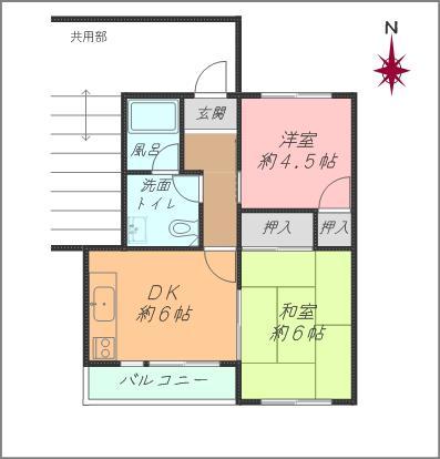 2DK最上階角部屋 独立性のあるお部屋です(間取)