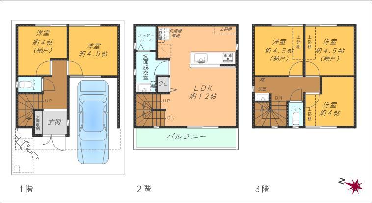 5LDK3階建、車庫付き、玄関前には自転車置場も。(洋室3部屋は納戸申請です)(間取)