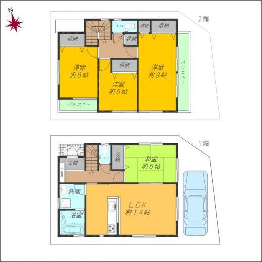 各居室に収納を設置したファミリー向け2階建4LDK(間取)