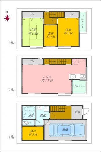 2LDK+2S、車庫付きの3階建住宅です
