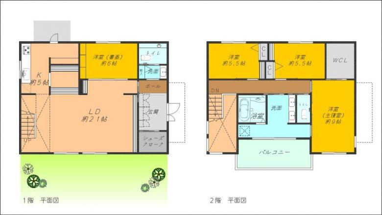 4LDK庭付、カースペース付2階建住居です(間取)