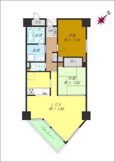 2LDK約60㎡、令和元年11月に内装リフォーム済みの端部屋です。(間取)