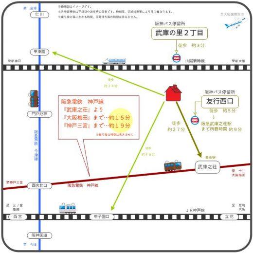 バス&電車利用で便利な交通(地図)