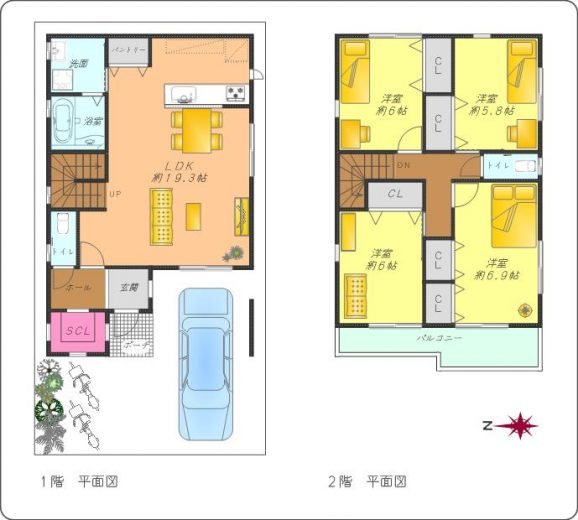 A号地標準プラン4LDK(床延105.7㎡)土地建物標準セット価格4,480万円~(間取)