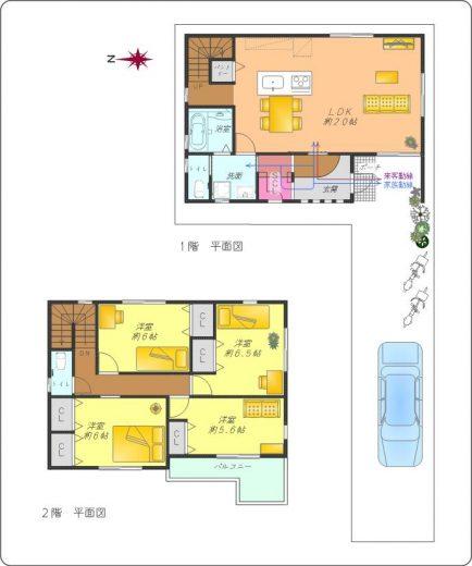 B号地標準プラン4LDK(床延106.4㎡)土地建物標準セット価格4,380万円~(間取)