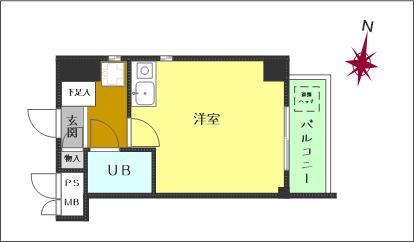 ワンルーム(洋室約8帖)(間取)