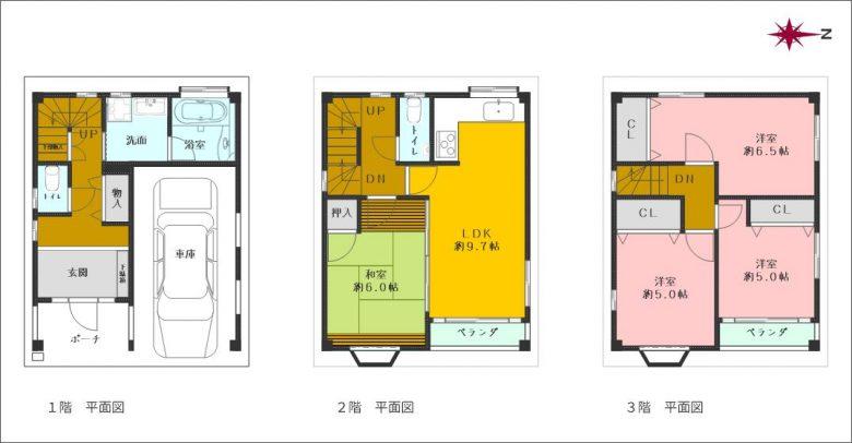 3階建て車庫付き4LDK(一部改装済)(間取)