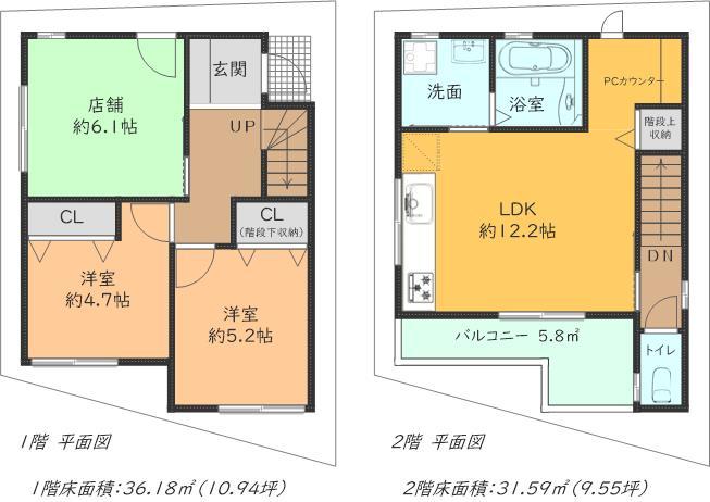 2階建プラン例、価格はプランにより異なります。詳しくはご相談下さい。(間取)